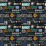 Vector Sketch Basketball Seamless Pattern. Retro, Grunge, Hand-drawing Lettering, Favorite Sport, Go, You Win, Slam Dunk, Team. Royalty Free Stock Photo