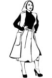 Vector sketch of a beautiful girl in a scarf and cardigan Royalty Free Stock Photos