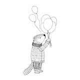 Vector sketch. Beaver in sweater with balloons Stock Photos