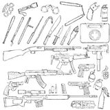 Vector Sketch Big Set of Weapons and Equipment. On White Background Royalty Free Stock Photography