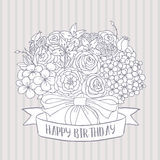 Vector sketch, bouquet with happy birthday wish Royalty Free Stock Photo