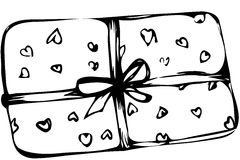 Vector sketch box with hearts tied with a ribbon. Black and white vector sketch box with hearts tied with a ribbon Royalty Free Stock Photo