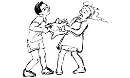 Vector sketch of boy and girl children are fighting over a toy. Black and white  sketch of boy and girl children are fighting over a toy Royalty Free Stock Images