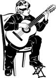 Vector sketch of a boy playing music on a guitar Royalty Free Stock Images