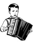 Vector sketch of boy plays music on the accordion Royalty Free Stock Photos