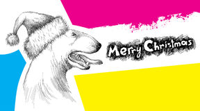Vector sketch of Bull terrier or Bullterrier dog head profile in Santa hat with open mouth  on psychedelic background. Stock Photography