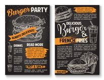 Vector sketch burger fast food restaurant posters. Fast food burgers sketch posters for fastfood restaurant menu. Vector cheeseburger or hamburger sandwich, soda Royalty Free Stock Photos