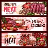 Vector sketch butchery shop meat product banners. Meat and sausages farm fresh products and meaty delicatessen sketch banners. Vector butcher shop pork ham Royalty Free Stock Image