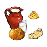 Vector sketch dairy products, white bread loaf set. Vector sketch cartoon glass of milk and ceramic pitcher jug, crock and loaf of round white bread, cheese and vector illustration