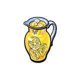 Vector sketch cartoon lemonade glass jug isolated. Vector sketch cartoon lemonade glass jug, pitcher with handle. Isolated illustration on a white background Royalty Free Stock Photo
