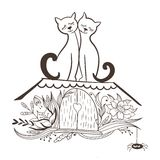 Vector Sketch with Cats in Love Royalty Free Stock Images