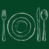 Vector Sketch Chalk Illustration - Cutlery: Fork, Plate, Knife, Spoon Royalty Free Stock Image