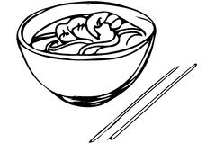 Vector sketch of Chinese noodles with shrimp and chopsticks Royalty Free Stock Image