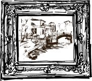 Vector sketch of a cityscape in a decorative frame stock illustration