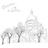 Vector cityscape with Sacre Coeur in Paris Royalty Free Stock Photos