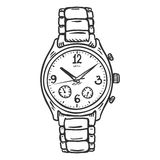 Vector Sketch Classic Mens Wrist Watch Stock Image