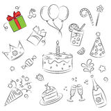 Vector Sketch Clipart Set. Birthday Party Royalty Free Stock Photo