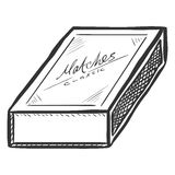 Vector Sketch Closed Matchbox Royalty Free Stock Images