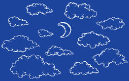 Vector sketch. Clouds and crescent Royalty Free Stock Photos
