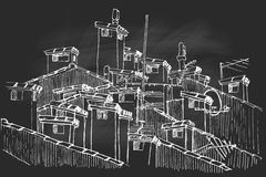 Vector sketch of of a cluster of rooftop chimneys. royalty free illustration