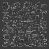 Vector sketch collection set chalk on blackboard food products, beverages and kitchen utensils. Brew tea and coffee Stock Images