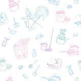 Vector sketch color seamless pattern of objects and situations house cleaning. Unwashed dishes and not ironed linen Stock Photos