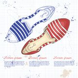 Fashion vector sketch womens shoes. Royalty Free Stock Images