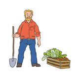 Vector sketch coloured illustration of farmer. Man worker with shovel and box vegetables. Autumn gardening harvest. Drawn contour Royalty Free Stock Image