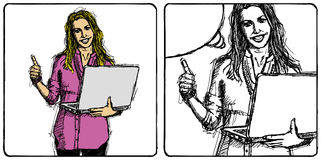 Vector Sketch Business Woman Stock Image