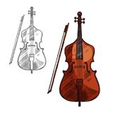 Vector sketch contrabass violin music instrument. Contrabass musical instrument or violin with bow sketch icon. Vector isolated string music cello or fiddle Royalty Free Stock Photography