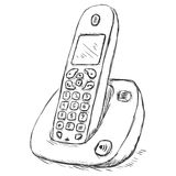 Vector Sketch Cordless Phone Royalty Free Stock Image