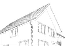 Vector sketch of the cottage with a roof Stock Photos