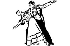 Vector sketch of couple dancing waltz Royalty Free Stock Photography