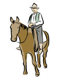 Vector Sketch Cowboys with Brown Horse Royalty Free Stock Photo