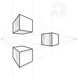 Vector Sketch of a cube in perspective. Drawing of a cube in perspective with two vanishing points Royalty Free Stock Images