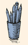 Vector sketch. Cup with Pencils Royalty Free Stock Photography