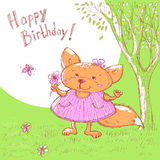 Vector sketch of cute baby greeting card. Cartoon animal little girl fox in a meadow with flower in hand. Royalty Free Stock Images