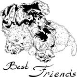 Vector sketch cute dog with cat hand drawing vector Stock Photos