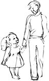 Vector sketch Dad and daughter walking hand Royalty Free Stock Images