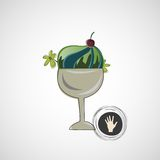 Vector sketch delicious dessert in a glass bowl Royalty Free Stock Photography