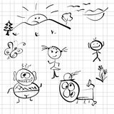 Vector sketch depicting different people Royalty Free Stock Images
