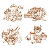 Vector sketch desserts and pastry for bakery shop Royalty Free Stock Image