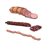 Vector sketch different sausage type set isolated Royalty Free Stock Image