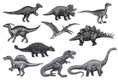 Vector sketch dinosaurs icons set. Dinosaurs sketch icons for Jurassic park design. Vector isolated set of triceratops or t-rex, brontosaurus or pterodactyl and stock illustration