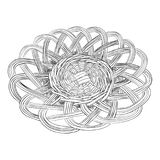 Vector sketch of dish. Vector sketch of wicker dish. Hand draw illustration Stock Photos
