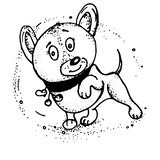 Vector sketch of dog drawn in ink by hand with no background, selected objects. royalty free illustration