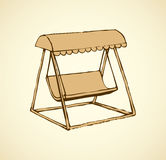 Vector sketch drawing bench-swing with a sun canopy Stock Photography