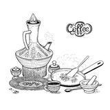 Vector sketch drawing East Arabic cup and vintage coffeepot. Roasting coffee beans in a frying pan, wicker bowl and mortar. Illustration items of the Ethiopian Royalty Free Stock Images