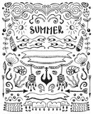 Vector sketch elements set. Vintage hand drawn summer elements collection. Vector sketch floral elements set. Illustration with flowers and leaves, sea theme Royalty Free Stock Photography