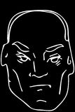 Vector sketch of the face of the adult bald man Royalty Free Stock Images